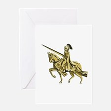Knight Riding Steed Lance Isolated Retro Greeting