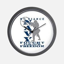 Fiance Fought Freedom - NAVY  Wall Clock