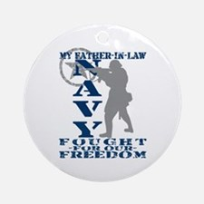 Father-n-Law Fought Freedom - NAVY  Ornament (Roun