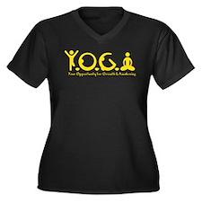 Y-O-G-A Women's Plus Size V-Neck Dark T-Shirt