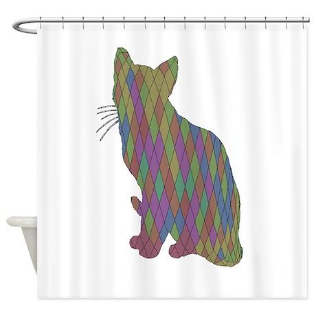Geometric Cat Art Shower Curtain By Admin CP132219828