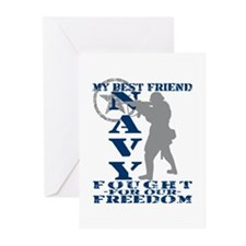Best Friend Fought Freedom - NAVY  Greeting Cards