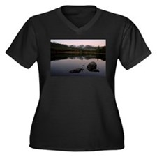 Sprague Lake Women's Plus Size V-Neck Dark T-Shirt