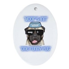 """One Funny Pug"" Oval Ornament"