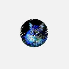 Cute Black cat in blue willow bowl Mini Button
