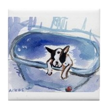 Boston Terrier in tub Tile Coaster