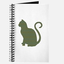 Teal Gold and Black Chevron Pattern Cat Si Journal