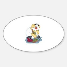 Snowman Curling Oval Decal