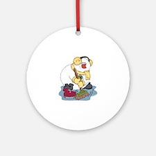 Snowman Curling Ornament (Round)
