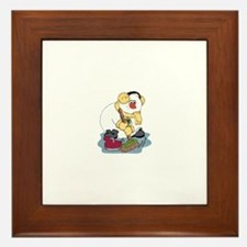 Snowman Curling Framed Tile