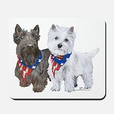 Scottie and Westie Patriotic Mousepad