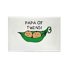 Papa of Twins Pod Rectangle Magnet
