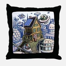 City of the Future, with Old House Throw Pillow