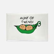Aunt of Twins Pod Rectangle Magnet