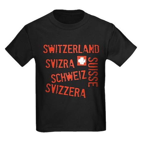 Switzerland Languages Kids Dark T-Shirt