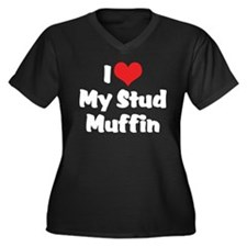 I Love My Stud Muffin Women's Plus Size V-Neck Dar