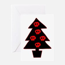 Red Skull Xmas Tree Greeting Card