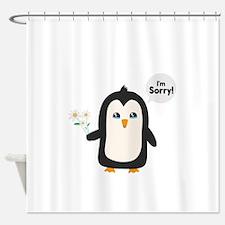 Penguin apology Shower Curtain