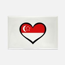 Singapore Love Heart Rectangle Magnet