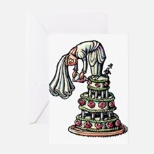Bride Decorates Her Own Wedding Cak Greeting Cards