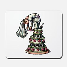 Bride Decorates Her Own Wedding Cake Mousepad