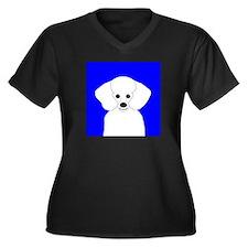 Poodle (White) Women's Plus Size V-Neck Dark T-Shi