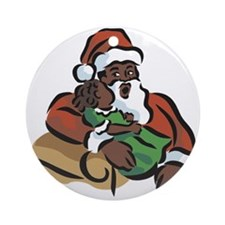 Santa and Baby Ornament (Round)