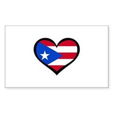 Puerto Rico Love Heart Rectangle Stickers