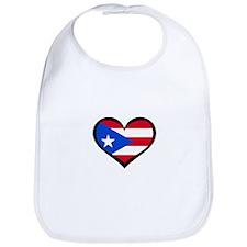 Puerto Rico Love Heart Bib
