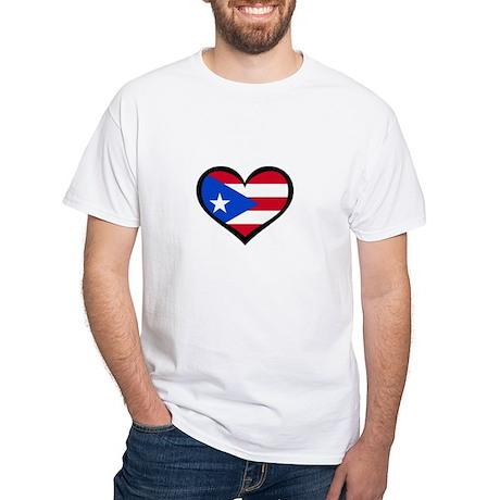 Puerto Rico Love Heart White T-Shirt