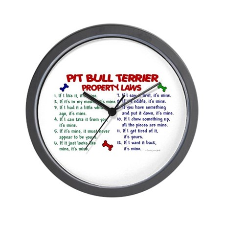 Pit Bull Terrier Property Laws 2 Wall Clock