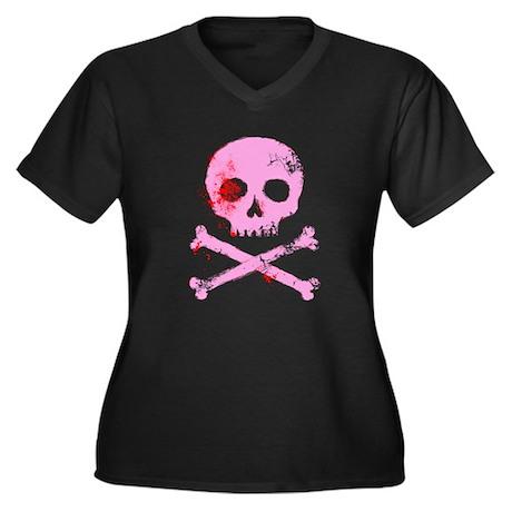 Pink Skull and Bones Women's Plus Size V-Neck Dark