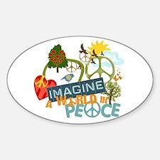 Imagine Peace Abtract Art Oval Decal