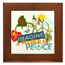 Imagine Peace Abtract Art Framed Tile
