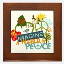 Imagine Peace Abtract Art Framed Tile