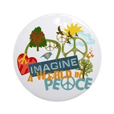 Imagine Peace Abtract Art Ornament (Round)