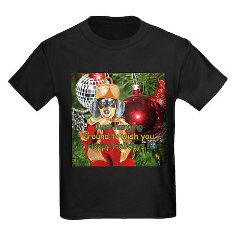 Black Doxie Christmas Bulb Kids Dark T-Shirt