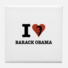 I Love Barack Obama (face) Tile Coaster