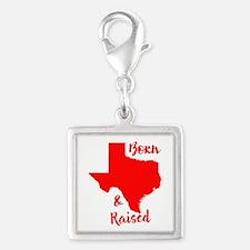 Texas - Born & Raised Silver Square Charm