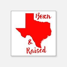 "Texas - Born & Raised Square Sticker 3"" x 3"""