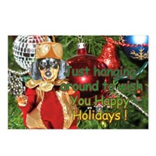 Black Doxie Christmas Bulb Postcards (Package of 8