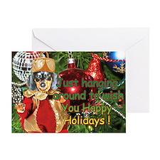 Black Doxie Christmas Bulb Greeting Card