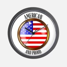 American Proud Flag Button Wall Clock