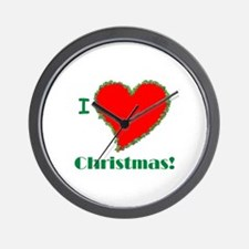 I Love Christmas Heart Wall Clock