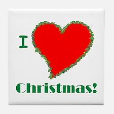 I Love Christmas Heart Tile Coaster