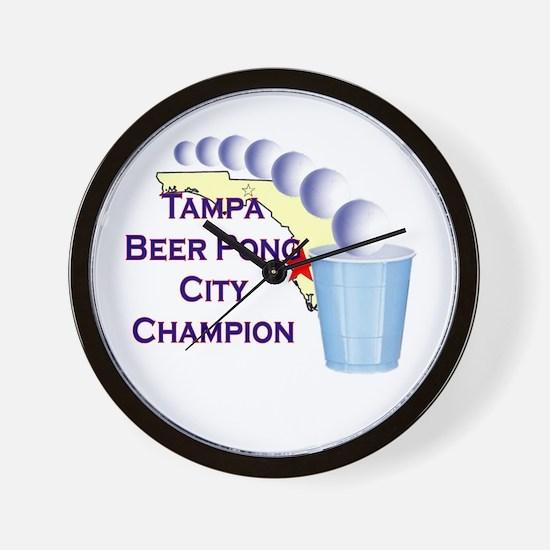 Tampa Beer Pong City Champion Wall Clock