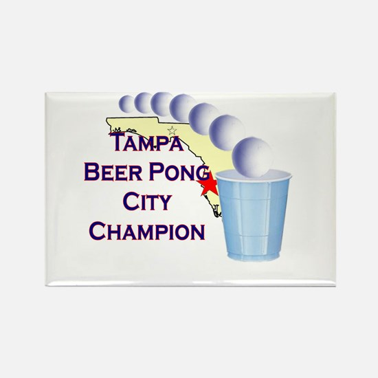 Tampa Beer Pong City Champion Rectangle Magnet
