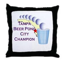 Tampa Beer Pong City Champion Throw Pillow