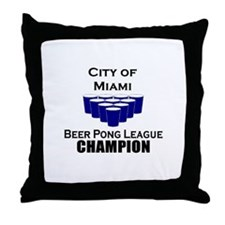 City of Miami Beer Pong Leagu Throw Pillow