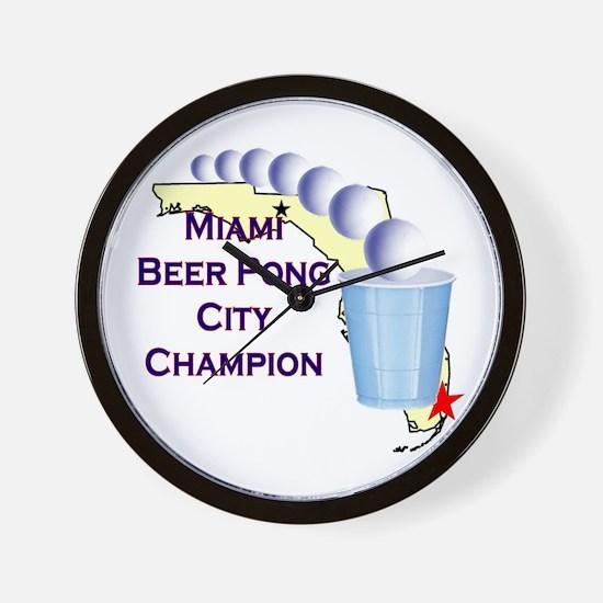 Miami Beer Pong City Champion Wall Clock